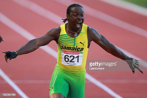 Lerone Clarke of Jamaica celebrates after winning the men's 100m final as part of the Pan American Games Guadalajara 2011 at Telmex Athletics Stadium...