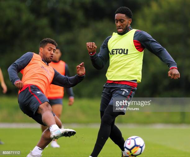 Leroy Fer against Wayne Routledge during the Swansea City Training at The Fairwood Training Ground on August 16 2017 in Swansea Wales
