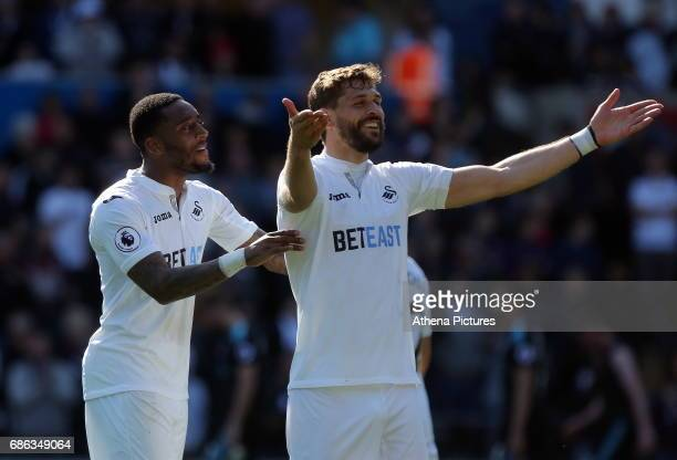 Leroy Fer and Fernando Llorente of Swansea City celebrate after the Premier League match between Swansea City and West Bromwich Albion at The Liberty...