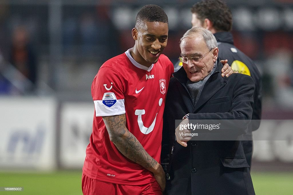 Leroy Fer of FC Twente, teammanager Toon Renes during the Dutch Eredivisie match between FC Twente and Roda JC at the Grolsch stadium on April 6, 2013 in Enschede, The Netherlands