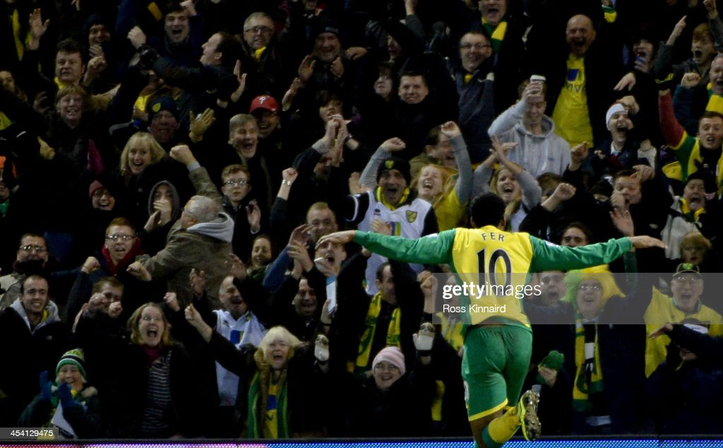<a gi-track='captionPersonalityLinkClicked' href=/galleries/search?phrase=Leroy+Fer&family=editorial&specificpeople=5476889 ng-click='$event.stopPropagation()'>Leroy Fer</a> of Norwich celebrates after scoring their second goal during the Premier League match between West Bromwich Albion and Norwich City at The Hawthorns on December 7, 2013 in West Bromwich, England.