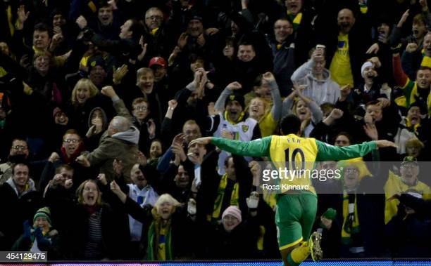 Leroy Fer of Norwich celebrates after scoring their second goal during the Premier League match between West Bromwich Albion and Norwich City at The...