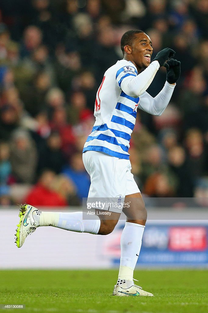 Leroy Fer of QPR celebrates scoring the opening goal during the Barclays Premier League match between Sunderland and Queens Park Rangers at Stadium of Light on February 10, 2015 in Sunderland, England.