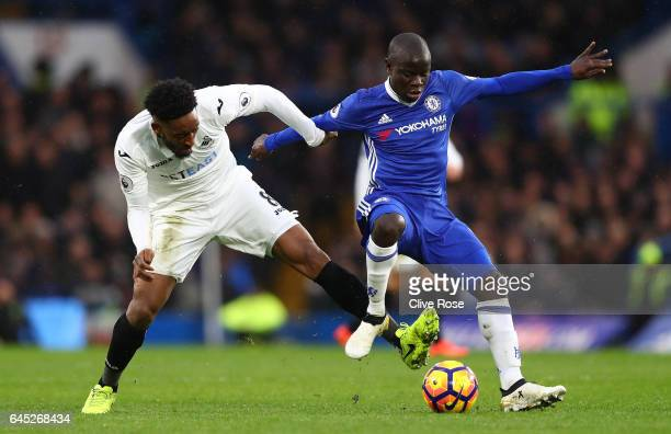 Leroy Fer of Swansea City and N'Golo Kante of Chelsea battle for possession during the Premier League match between Chelsea and Swansea City at...