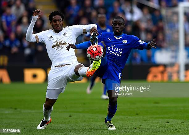 Leroy Fer of Swansea City and Ngolo Kante of Leicester City stretch for the ball during the Barclays Premier League match between Leicester City and...