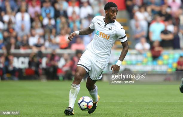 Leroy Fer of Swansea City during the Premier League match between Swansea City and Manchester United at The Liberty Stadium on August 19 2017 in...
