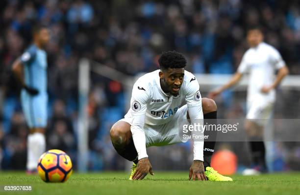 Leroy Fer of Swansea City looks dejected after the full time whistle during the Premier League match between Manchester City and Swansea City at...