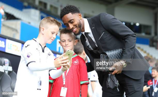 Leroy Fer of Swansea City prior to kick off of the Premier League match between Swansea City and Manchester United at The Liberty Stadium on August...