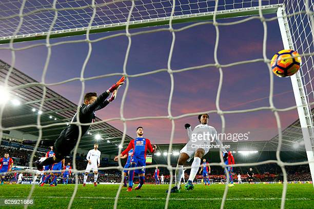 Leroy Fer of Swansea City scores his team's third goal during the Premier League match between Swansea City and Crystal Palace at Liberty Stadium on...