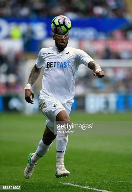 Leroy Fer of Swansea in action during the Premier League match between Swansea City and Middlesbrough at Liberty Stadium on April 2 2017 in Swansea...