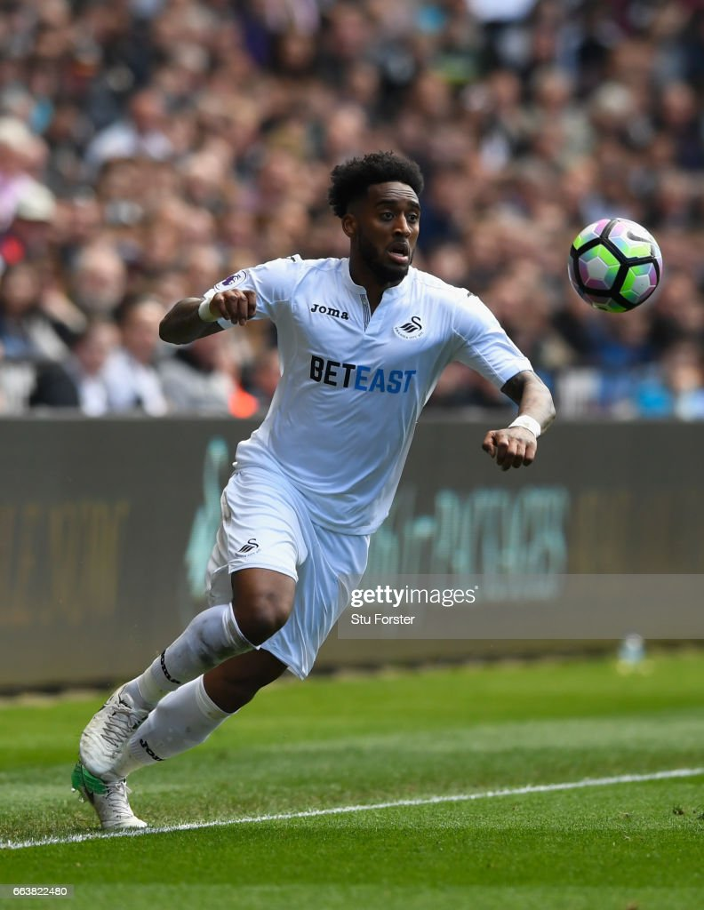 Leroy Fer of Swansea in action during the Premier League match between Swansea City and Middlesbrough at Liberty Stadium on April 2, 2017 in Swansea, Wales.