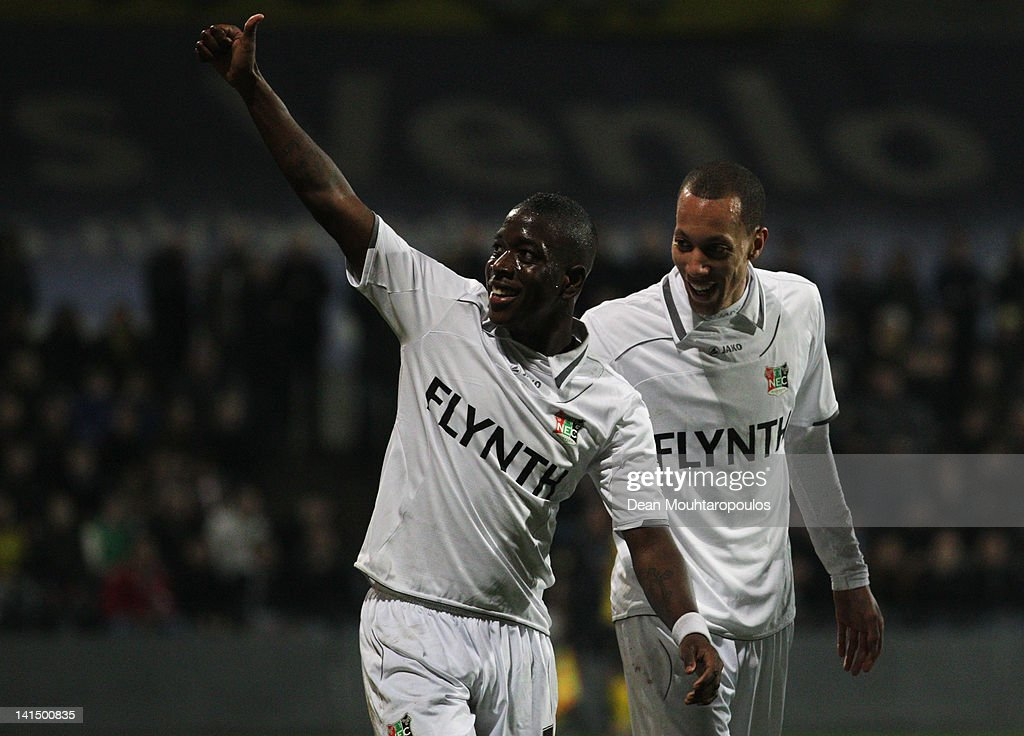 Leroy George of NEC celebrates scoring the first goal of the game with Ryan Koolwijk during the Eredivisie match between VVV Venlo and NEC Nijmegen...