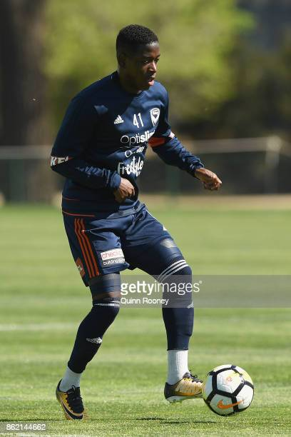 Leroy George of the Victory passes the ball during a Melbourne Victory ALeague training session at Gosch's Paddock on October 17 2017 in Melbourne...