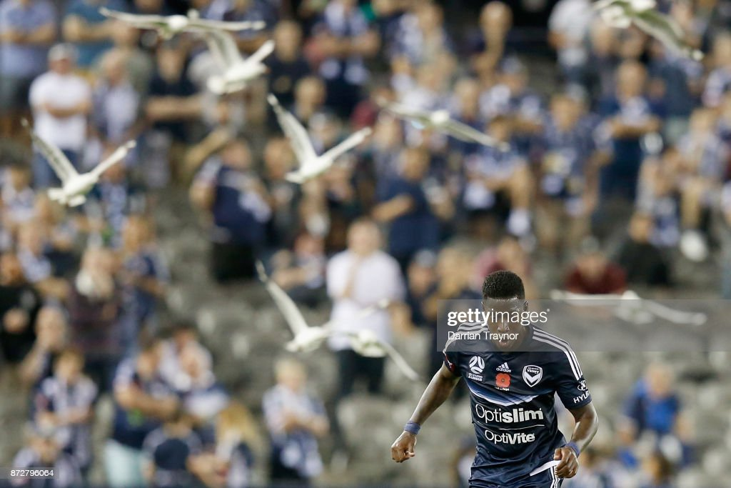 Leroy George of the Victory runs with the ball during the round six A-League match between the Melbourne Victory and Brisbane Roar at Etihad Stadium on November 11, 2017 in Melbourne, Australia.