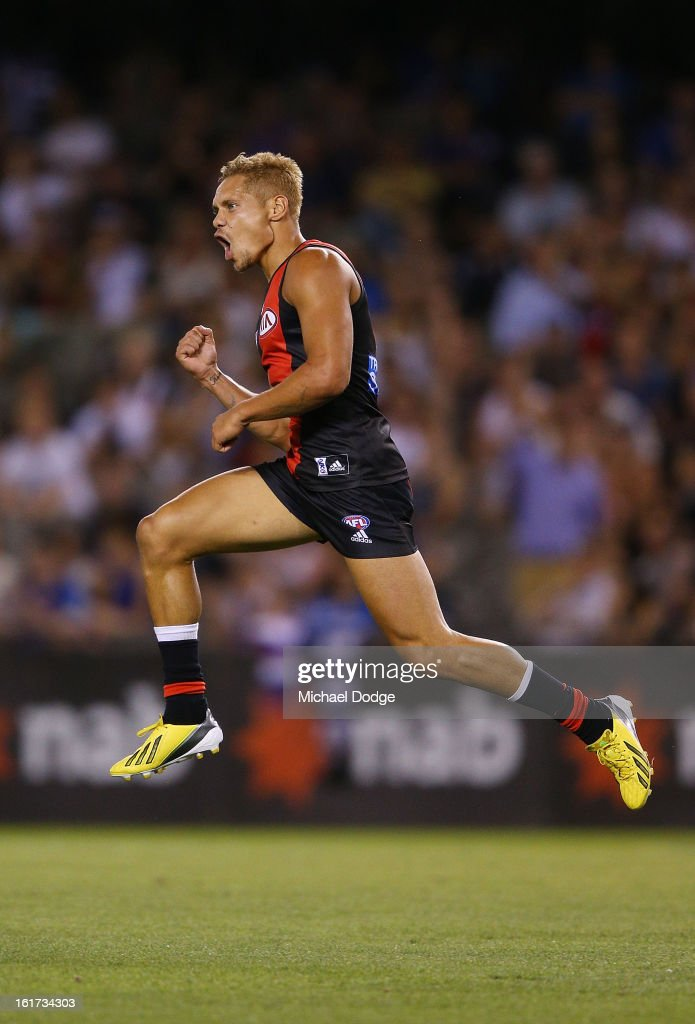 <a gi-track='captionPersonalityLinkClicked' href=/galleries/search?phrase=Leroy+Jetta&family=editorial&specificpeople=2335226 ng-click='$event.stopPropagation()'>Leroy Jetta</a> of the Essendon Bombers celebrates a goal during the round one AFL NAB Cup match between the Collingwood Magpies and the Essendon Bombers at Etihad Stadium on February 15, 2013 in Melbourne, Australia.