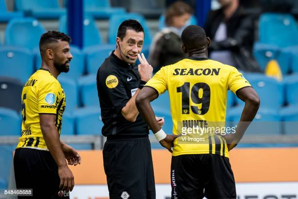 Leroy Labylle of VVV referee Dennis Higler Torino Hunte of VVV during the Dutch Eredivisie match between Vitesse Arnhem and VVV Venlo at Gelredome on...
