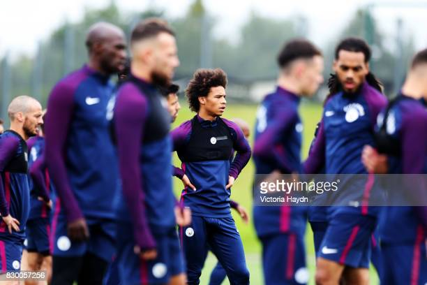 Leroy Sane during Manchester City training at Etihad Campus on August 11 2017 in Manchester England