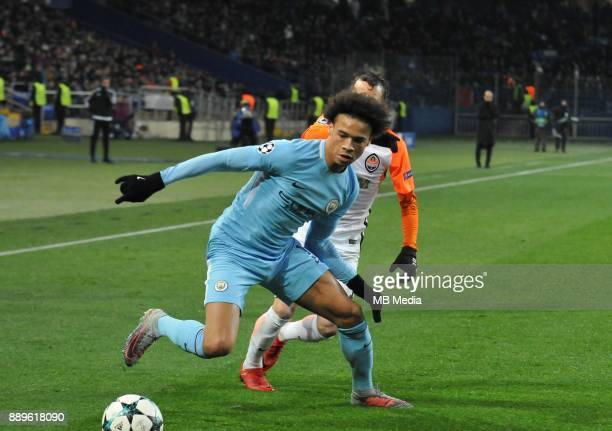 Leroy Sane during the UEFA Champions League group F match between Shakhtar Donetsk and Manchester City at Metalist Stadium on December 6 2017 in...