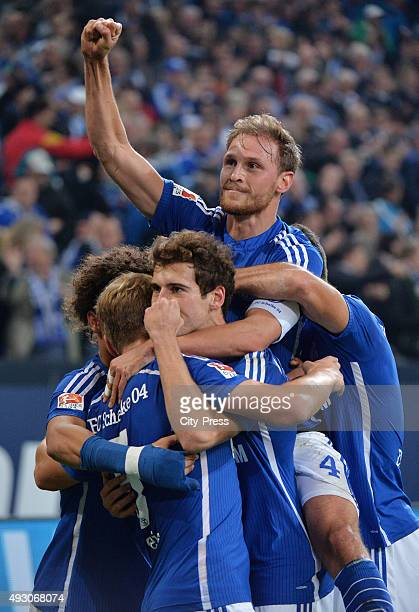 Leroy Sane Johannes Geis Leon Goretzka and Benedikt Hoewedes of FC Schalke 04 celebrate after scoring the 10 during the game between Schalke 04 and...