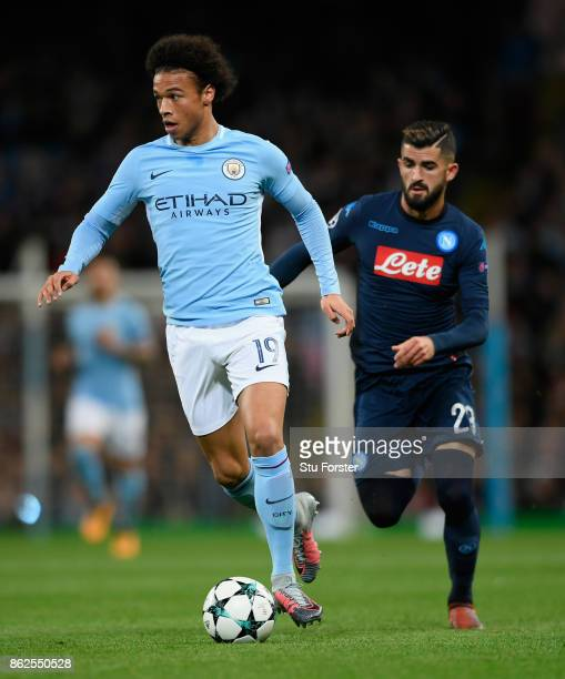 Leroy Sane of City in action during the UEFA Champions League group F match between Manchester City and SSC Napoli at Etihad Stadium on October 17...