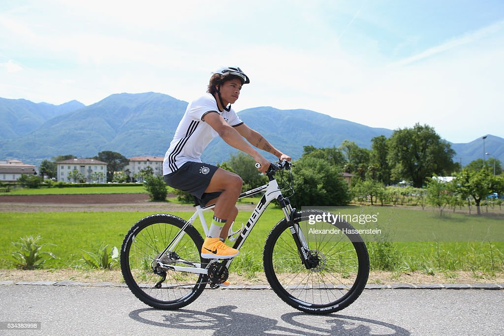 Leroy Sane of Germany arrives for a training session at stadio communale on day 3 of the German national team trainings camp on May 26, 2016 in Ascona, Switzerland.