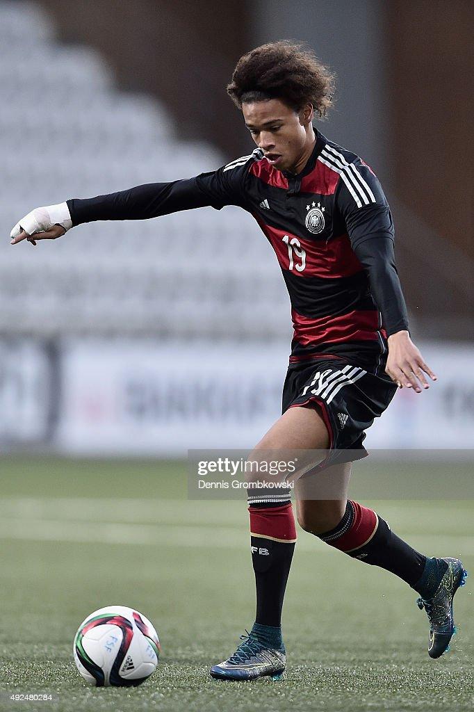 Leroy Sane of Germany controls the ball during the 2017 UEFA European U21 Championships Qualifier between U21 Faroe Islands and U21 Germany at...