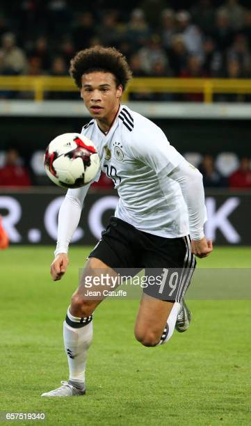 Leroy Sane of Germany in action during the international friendly match between Germany and England at Signal Iduna Park on March 22 2017 in Dortmund...