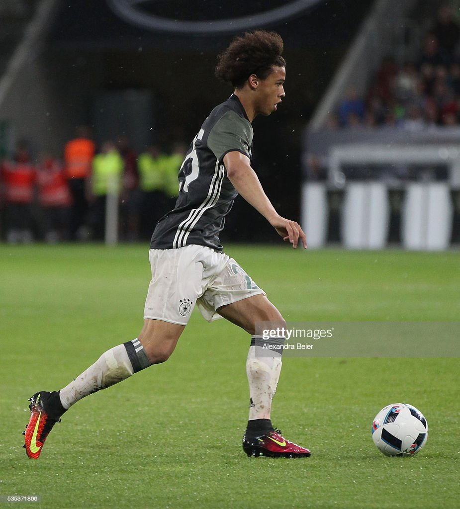 Leroy Sane of Germany kicks the ball during the international friendly football match between Germany and Slovakia at WWK-Arena on May 29, 2016 in Augsburg, Germany.