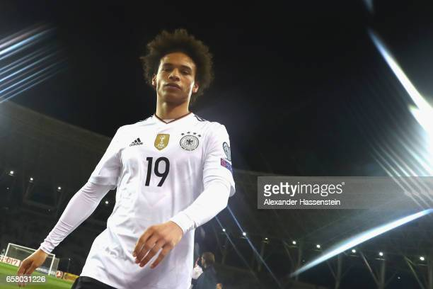 Leroy Sane of Germany looks on after the FIFA 2018 World Cup Qualifing Group C between Azerbaijan and Germany at Tofiq Bahramov Stadium on March 26...