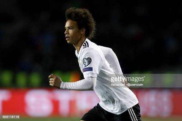 Leroy Sane of Germany looks on during the FIFA 2018 World Cup Qualifing Group C between Azerbaijan and Germany at Tofiq Bahramov Stadium on March 26...