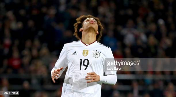 Leroy Sane of Germany reacts during the international friendly match between Germany and England at Signal Iduna Park on March 22 2017 in Dortmund...