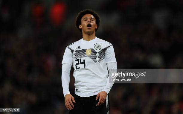 Leroy Sane of Germany reacts during the International friendly match between England and Germany at Wembley Stadium on November 10 2017 in London...