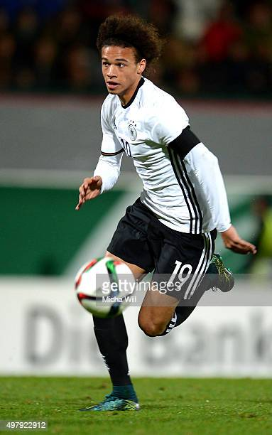 Leroy Sane of Germany runs with the ball during the 2017 UEFA European U21 Championships Qualifier between U21 Germany and U21 Austria at Stadion am...