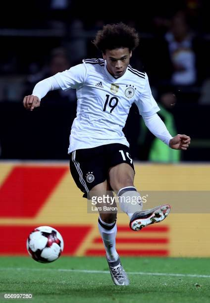Leroy Sane of Germany runs with the ball during the international friendly match between Germany and England at Signal Iduna Park on March 22 2017 in...
