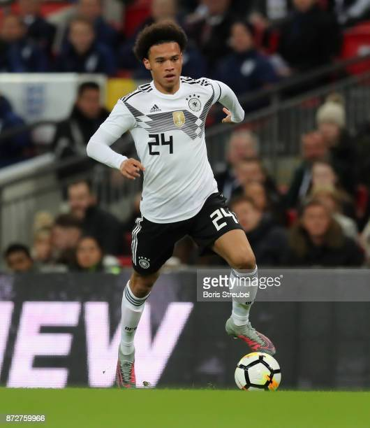 Leroy Sane of Germany runs with the ball during the International friendly match between England and Germany at Wembley Stadium on November 10 2017...