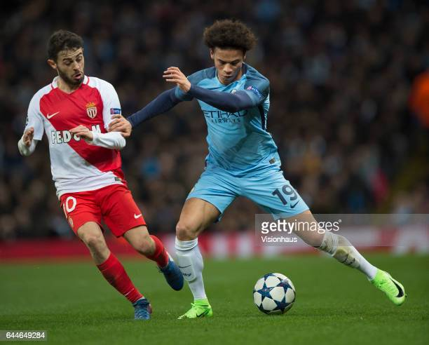 Leroy Sane of Manchester City and Bernardo Silva of AS Monaco in action during the UEFA Champions League Round of 16 first leg match between...