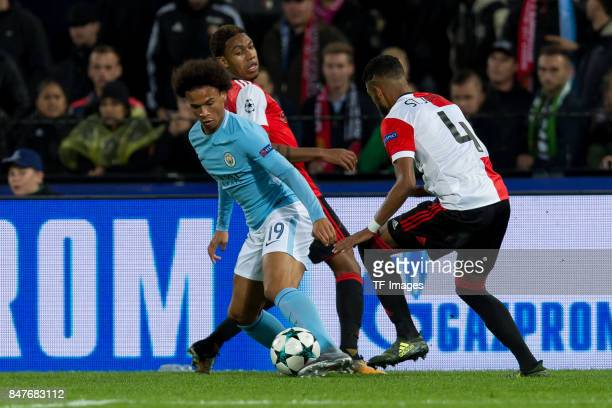 Leroy Sane of Manchester City and Jeremiah St Juste of Rotterdam battle for the ball during the UEFA Champions League match between Feyenoord...