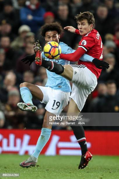 Leroy Sane of Manchester City and Victor Lindelof of Manchester United during the Premier League match between Manchester United and Manchester City...