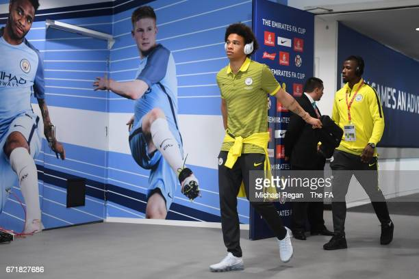Leroy Sane of Manchester City arrives at the stadium prior to the Emirates FA Cup SemiFinal match between Arsenal and Manchester City at Wembley...