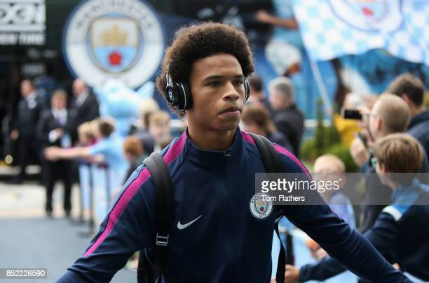 Leroy Sane of Manchester City arrives at the stadium prior to the Premier League match between Manchester City and Crystal Palace at Etihad Stadium...