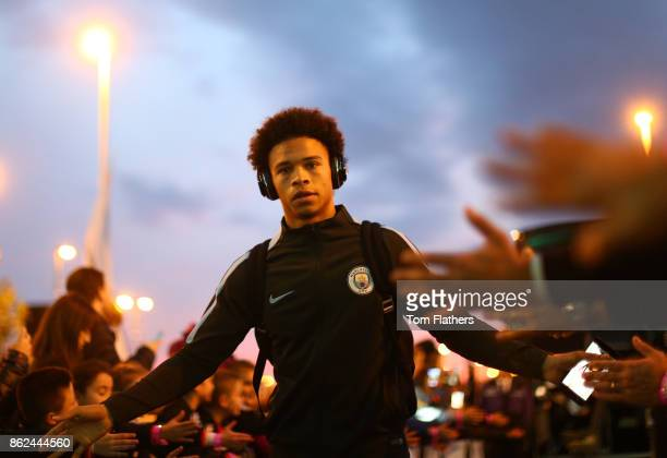 Leroy Sane of Manchester City arrives at the stadium prior to the UEFA Champions League group F match between Manchester City and SSC Napoli at...