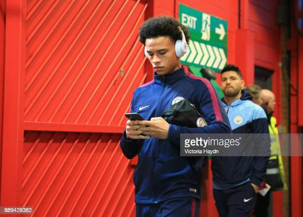 Leroy Sane of Manchester City arrives prior to the Premier League match between Manchester United and Manchester City at Old Trafford on December 10...