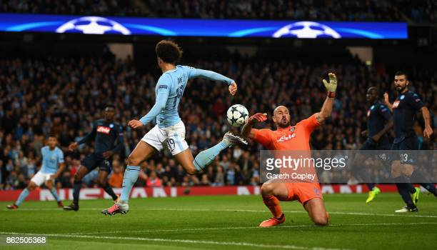Leroy Sane of Manchester City attempts to control the ball while Jose Reina of SSC Napoli attempts to save during the UEFA Champions League group F...