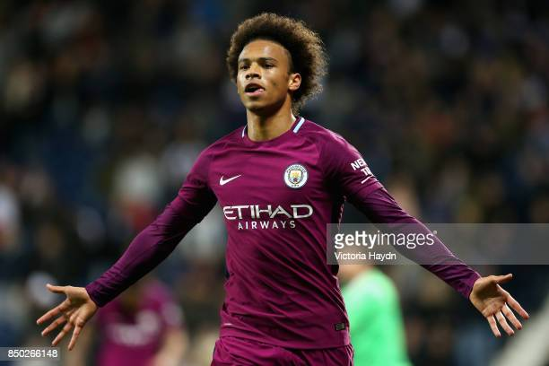 Leroy Sane of Manchester City celebrates after scoring during the Carabao Cup Third Round match between West Bromwich Albion and Manchester City at...