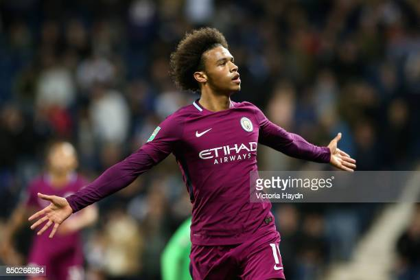 Leroy Sane of Manchester City celebrates after scoring his sides second goal during the Carabao Cup Third Round match between West Bromwich Albion...