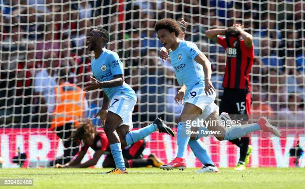 Leroy Sane of Manchester City celebrates his sides second goal during the Premier League match between AFC Bournemouth and Manchester City at...