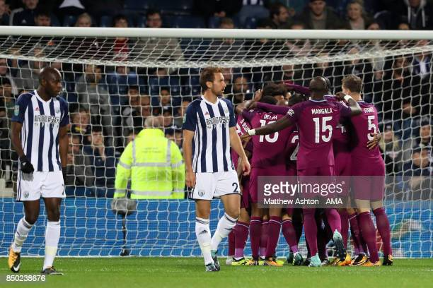 Leroy Sane of Manchester City celebrates scoring a goal to make the score 01 during the Carabao Cup third round match between West Bromwich Albion...