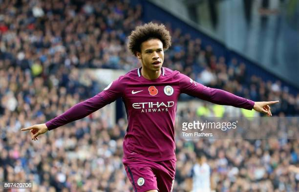 Leroy Sane of Manchester City celebrates scoring his sides first goal during the Premier League match between West Bromwich Albion and Manchester...
