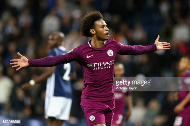 Leroy Sane of Manchester City celebrates scoring his sides second goal during the Carabao Cup Third Round match between West Bromwich Albion and...