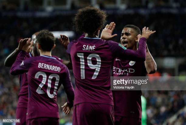 Leroy Sane of Manchester City celebrates scoring his sides second goal with Gabriel Jesus of Manchester City during the Carabao Cup Third Round match...